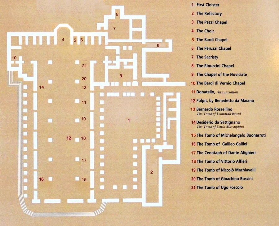 Map of the Basilica of Santa Croce