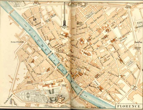 Old Map Of Florence Black Art